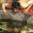 Narcissus by John William Waterhouse width=